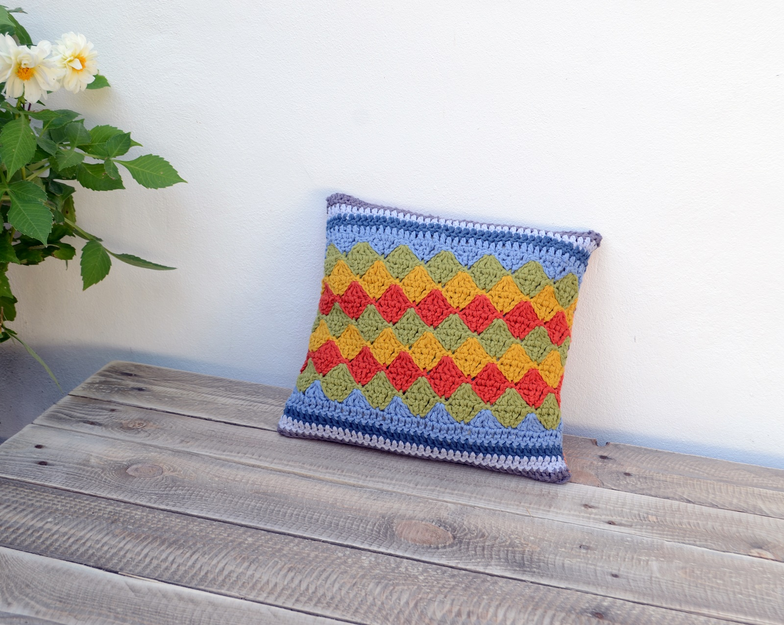Geometric Diamond Crochet Pillow and