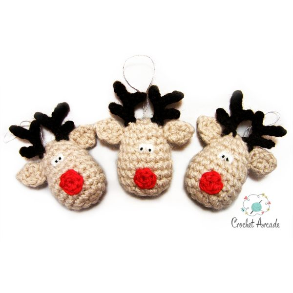 Three Reindeers Hanging Christmas Tree Ornaments Free Crochet Pattern