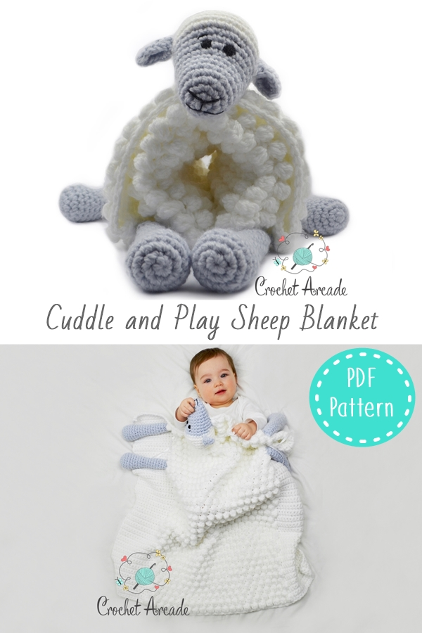 Cuddle and Play Sheep Baby Blanket Crochet Pattern Pin