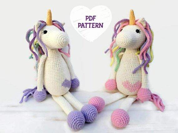 Purple and White Chibi Unicorn Amigurumi