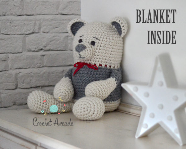 Crochet Teddy bear blanket toy
