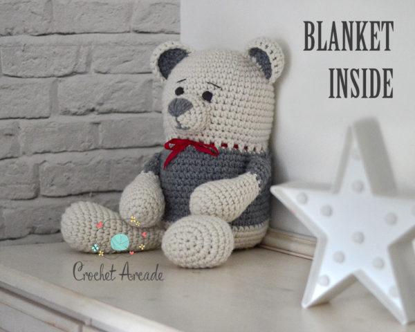 Crochet Teddy bear blanket toy
