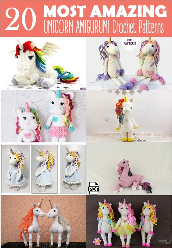 Baby unicorn amigurumi pattern - Amigurumi Today | 822x571