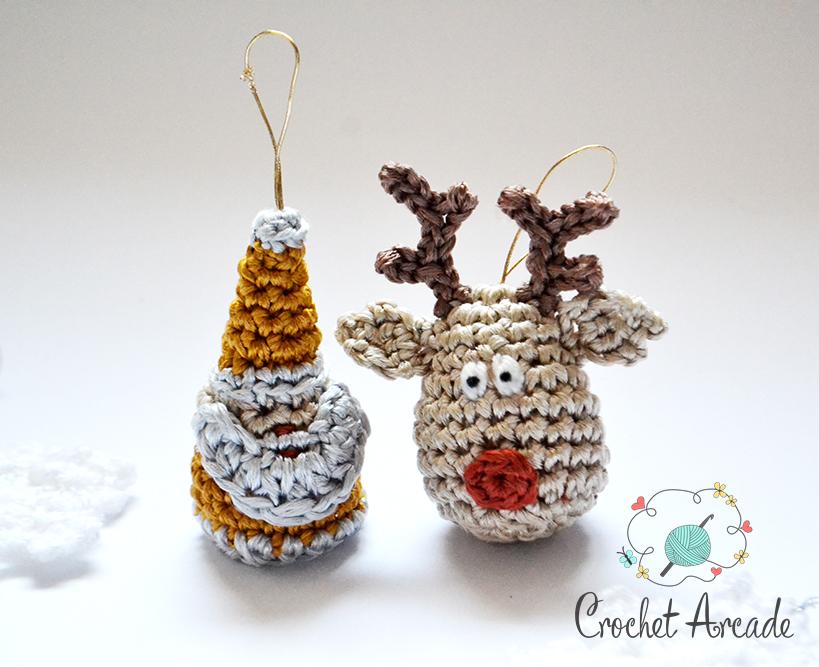 Crochet Reindeer and Crochet Santa Claus Christmas Ornament Free Crochet Pattern