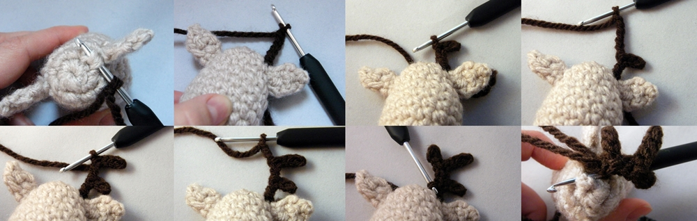 Step by step Photo Tutorial How to Make a right horn of Crochet Reindeer Christmas Ornament
