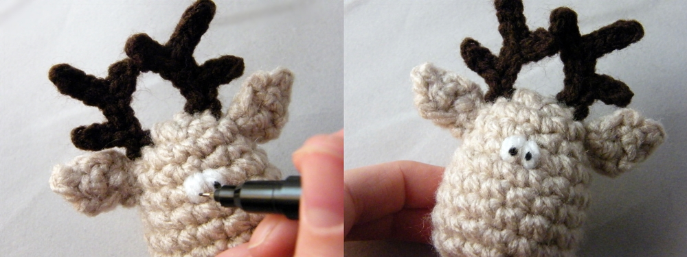 Step by step Photo Tutorial How to draw eyes on Crochet Reindeer Christmas Ornament