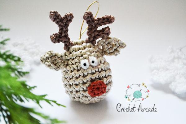 Reindeer Christmas Tree Hanging Ornament Free Crochet Pattern