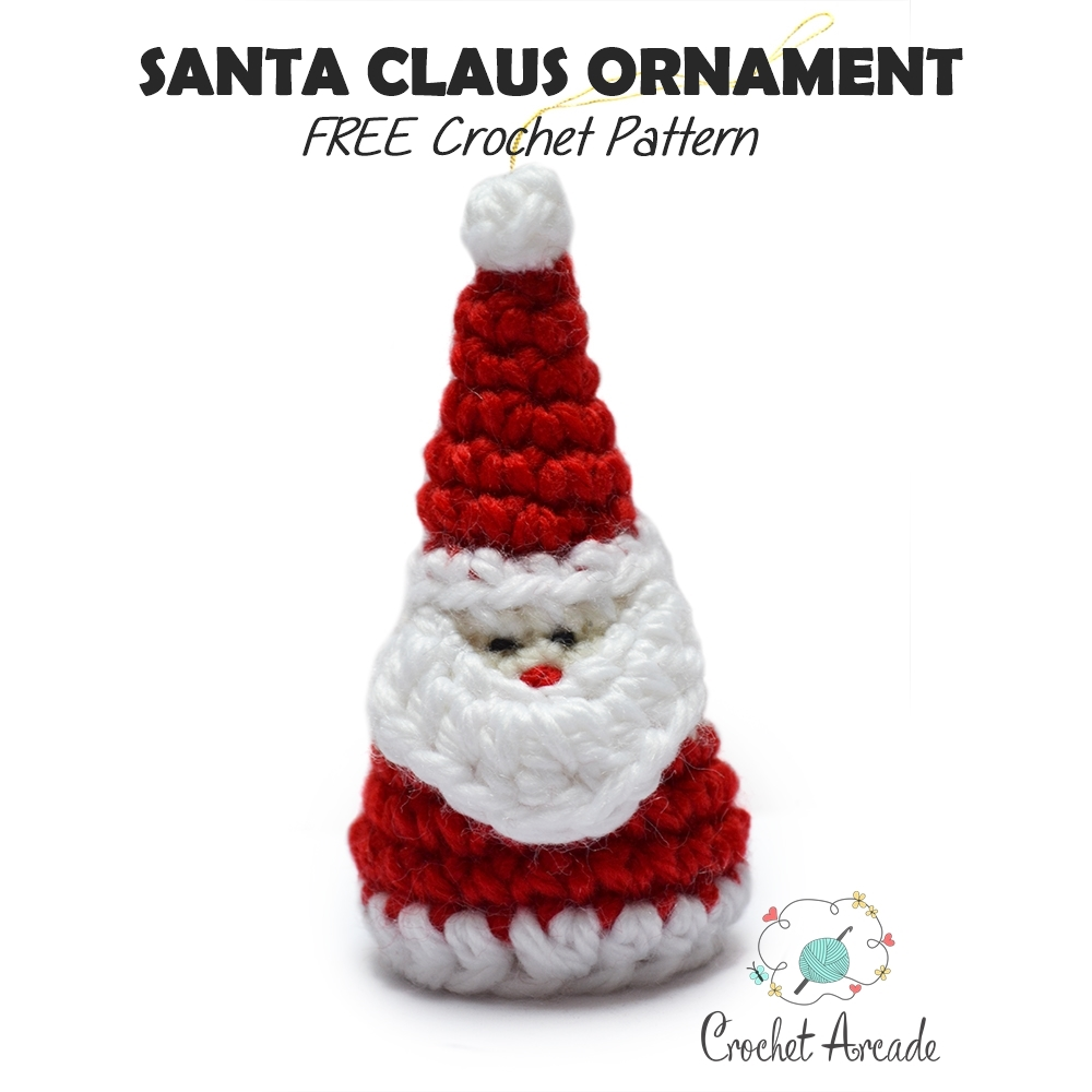 santa christmas ornament FREE crochet pattern TITLE