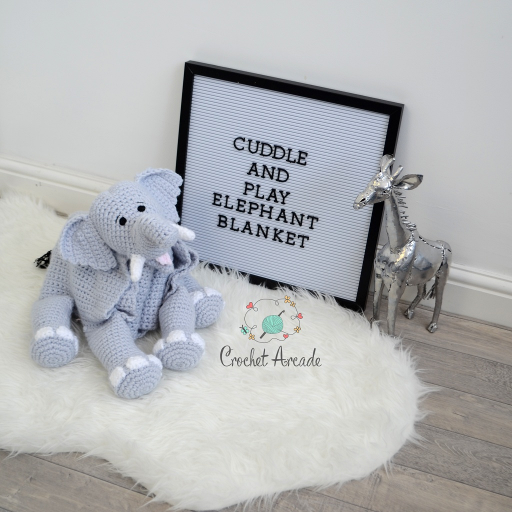 Cuddle and Play Elephant Baby Blanket Crochet Pattern | Crochet Arcade | 1024x1024